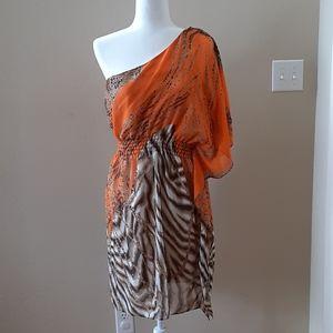 Bisou Bisou Orange Animal Print One Shoulder Dress
